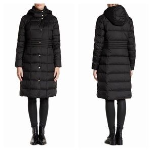 Cole Haan Black Down Hooded Quilted Puffer Coat